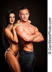 женщина, поместиться, пара, -, студия, фитнес, poses, человек