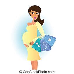 женщина, поход по магазинам, беременная
