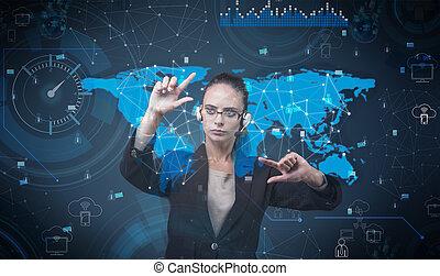 женщина, прессование, виртуальный, buttons, в, футуристический, концепция
