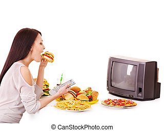 женщина, принимать пищу, быстро, питание, and, наблюдение, tv.
