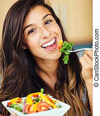 женщина, принимать пищу, салат