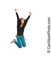 женщина, прыжки, счастливый