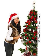 женщина, рождество, счастливый