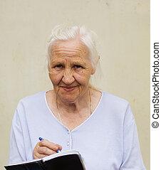 женщина, ручка, вдумчивый