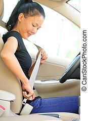 женщина, сиденье, водитель, вверх, ремень, пряжка