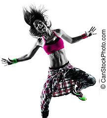 женщина, силуэт, zumba, танцы, isolated, танцор, фитнес, exercises