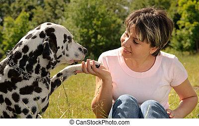 женщина, собака