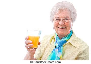 женщина, сок, стакан, старшая