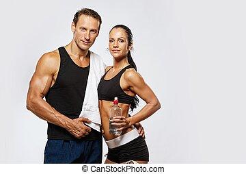 женщина, спортивное, после, фитнес, упражнение, человек