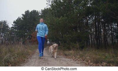 женщина, спортивный, поместиться, собака, осень, бег трусцой, лес