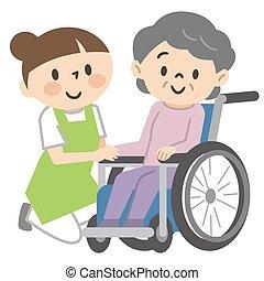 женщина, старшая, уход, сотрудники, инвалидная коляска