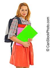 женщина, студент, счастливый