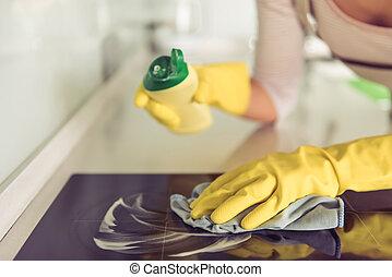 женщина, уборка, ее, кухня