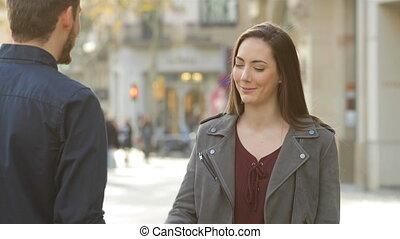 женщина, улица, handshaking, человек