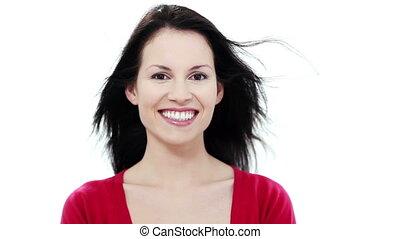 женщина, улыбается, молодой