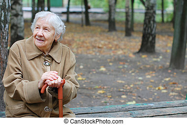 женщина, ходить, с помощью, старейшина, ее, тростник