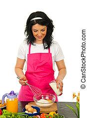 женщина, baking, счастливый