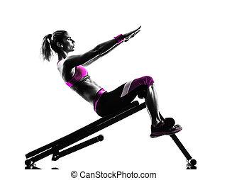 женщина, crunches, скамейка, нажмите, фитнес, exercises