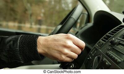 женщина, driving, автомобиль