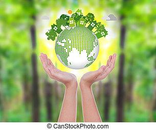 женщина, eco, над, зеленый, лес, руки, земля, держать, дружелюбный