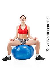 женщина, exercising, на, упражнение, мяч