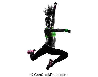 женщина, exercising, фитнес, zumba, танцы, прыжки, силуэт