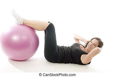 женщина, exercising, ядро, обучение, фитнес, мяч