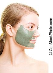 женщина, face., кожа, маска, грязи, глина, care.