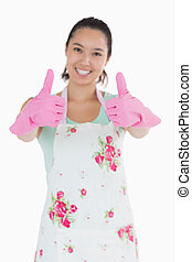 женщина, giving, вверх, ластик, gloves, thumbs, счастливый
