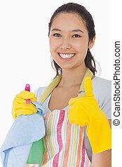 женщина, giving, вверх, продукты, уборка, улыбается, thumbs