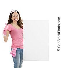 женщина, giving, весна, уборка, реклама, держа, плакат, t