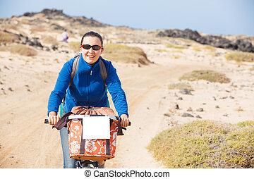 женщина, having, , экскурсия, на, велосипед