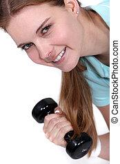 женщина, lifting, гантель