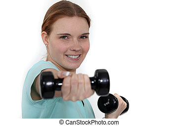 женщина, lifting, weights