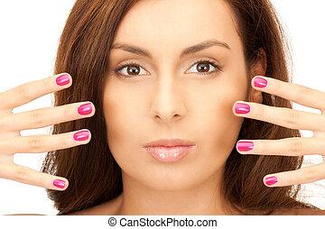 женщина, nails, полированный, прекрасный