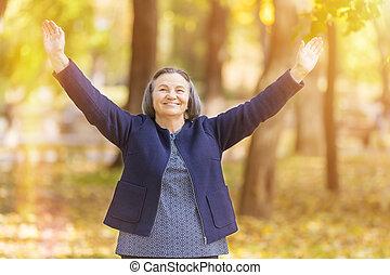 женщина, outstretched, arms, счастливый