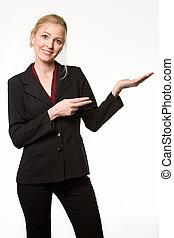 женщина, pointing, держа