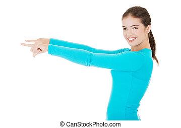 женщина, pointing, пространство, молодой, копия, в восторге,...