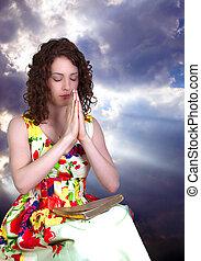 женщина, praying
