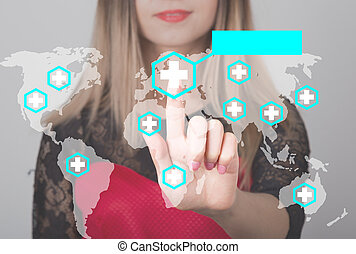 женщина, pushing, кнопка, with, пересекать, карта, медицинская, оказание услуг, web, icon., бизнес, технологии, and, интернет, концепция, в, лекарственное средство