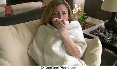 женщина, sneezing, молодой