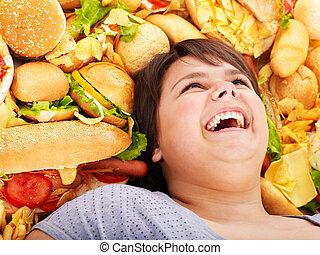 женщина, with, быстро, food.