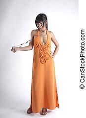 женщина, with, длинный, платье