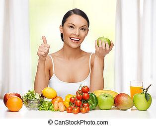 женщина, with, здоровый, питание