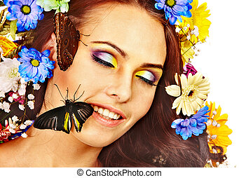 женщина, with, цветок, and, butterfly.