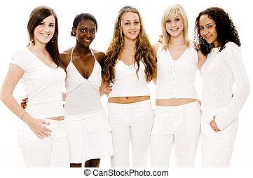 женщины, в, белый