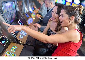 женщины, в, , казино