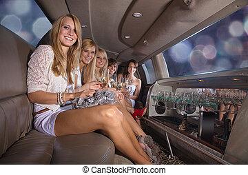 женщины, к, вечеринка, в, лимузин