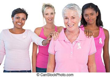 женщины, носить, розовый, and, ribbons, для