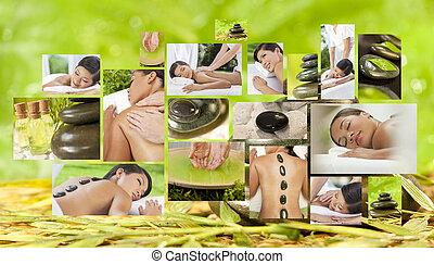 женщины, спа, &, массаж, relaxing, здоровый, стиль жизни